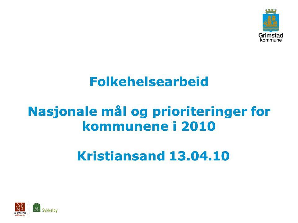 Folkehelsearbeid Nasjonale mål og prioriteringer for kommunene i 2010 Kristiansand 13.04.10