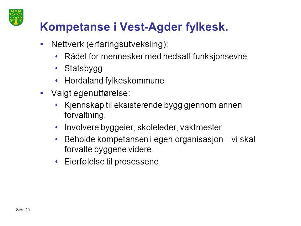 Kompetanse i Vest-Agder fylkesk.  Nettverk (erfaringsutveksling): Rådet for mennesker med nedsatt funksjonsevne Statsbygg Hordaland fylkeskommune  V