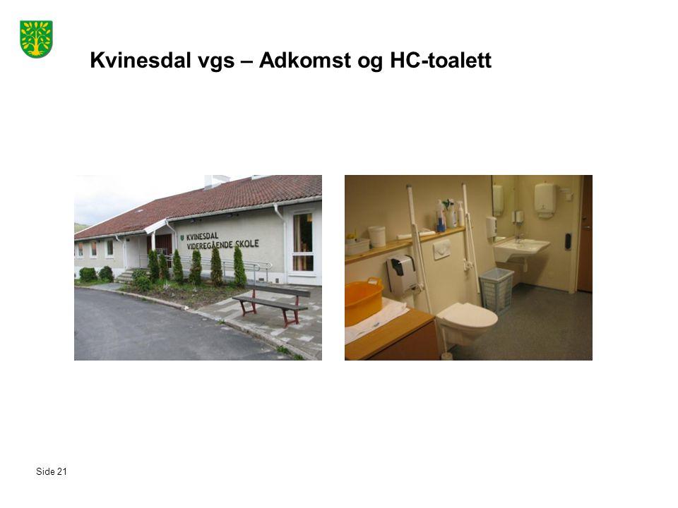 Kvinesdal vgs – Adkomst og HC-toalett Side 21