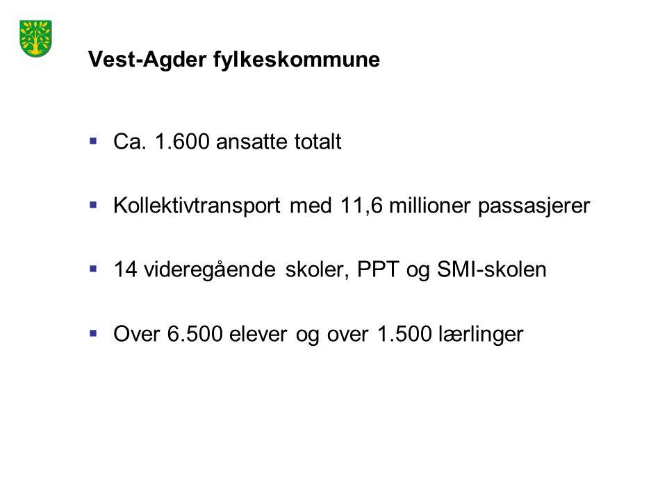 Vest-Agder fylkeskommune  Ca. 1.600 ansatte totalt  Kollektivtransport med 11,6 millioner passasjerer  14 videregående skoler, PPT og SMI-skolen 