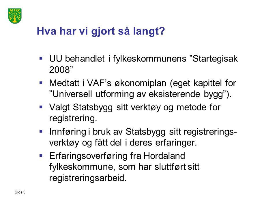 """Side 9 Hva har vi gjort så langt?  UU behandlet i fylkeskommunens """"Startegisak 2008""""  Medtatt i VAF's økonomiplan (eget kapittel for """"Universell utf"""