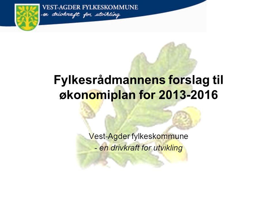 Fylkesrådmannens forslag til økonomiplan for 2013-2016 Vest-Agder fylkeskommune - en drivkraft for utvikling