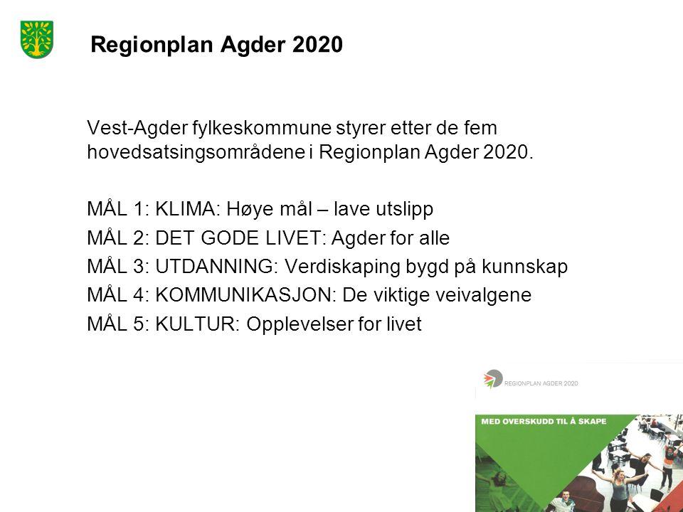 Regionplan Agder 2020 Vest-Agder fylkeskommune styrer etter de fem hovedsatsingsområdene i Regionplan Agder 2020. MÅL 1: KLIMA: Høye mål – lave utslip