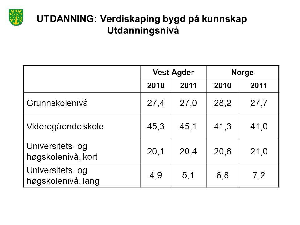 UTDANNING: Verdiskaping bygd på kunnskap Utdanningsnivå Vest-AgderNorge 2010201120102011 Grunnskolenivå27,427,028,227,7 Videregående skole45,345,141,3