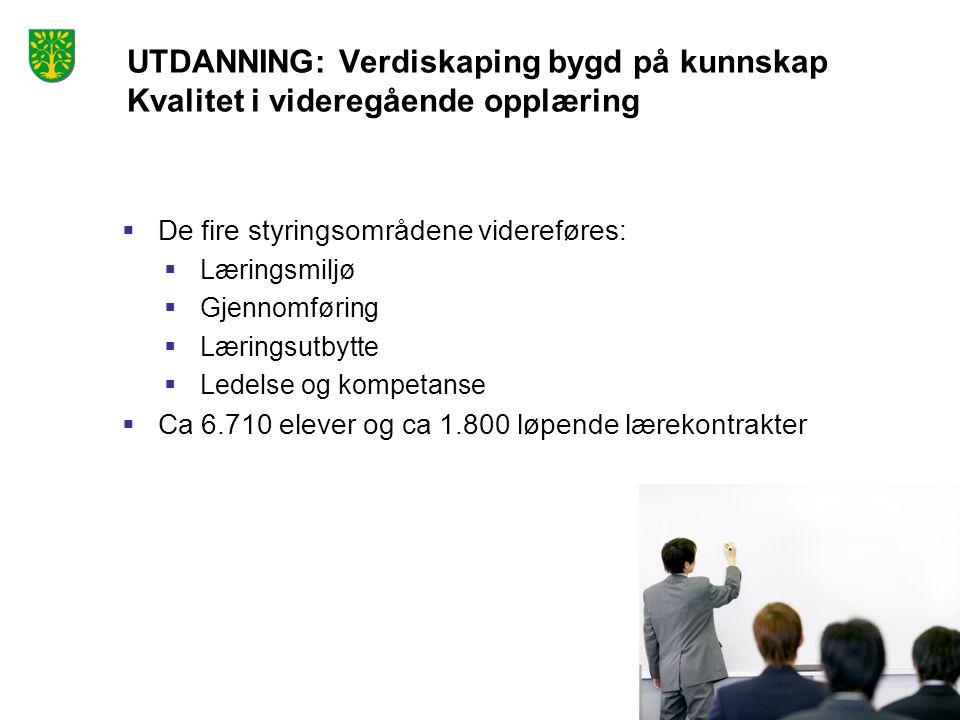 Foto: Peder Austrud UTDANNING: Verdiskaping bygd på kunnskap Kvalitet i videregående opplæring  De fire styringsområdene videreføres:  Læringsmiljø