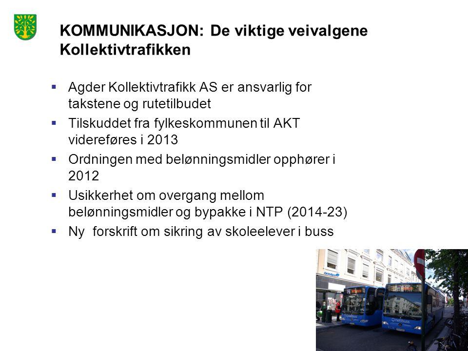 Foto: Peder Austrud  Agder Kollektivtrafikk AS er ansvarlig for takstene og rutetilbudet  Tilskuddet fra fylkeskommunen til AKT videreføres i 2013 