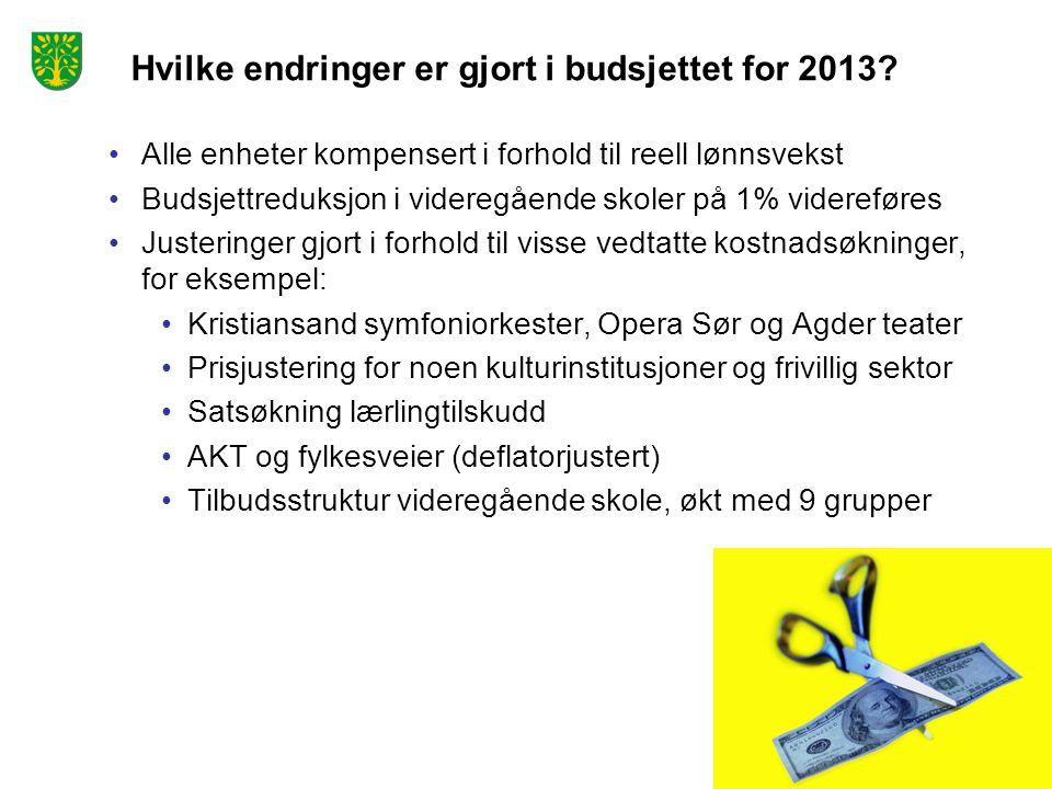 Hvilke endringer er gjort i budsjettet for 2013? Alle enheter kompensert i forhold til reell lønnsvekst Budsjettreduksjon i videregående skoler på 1%