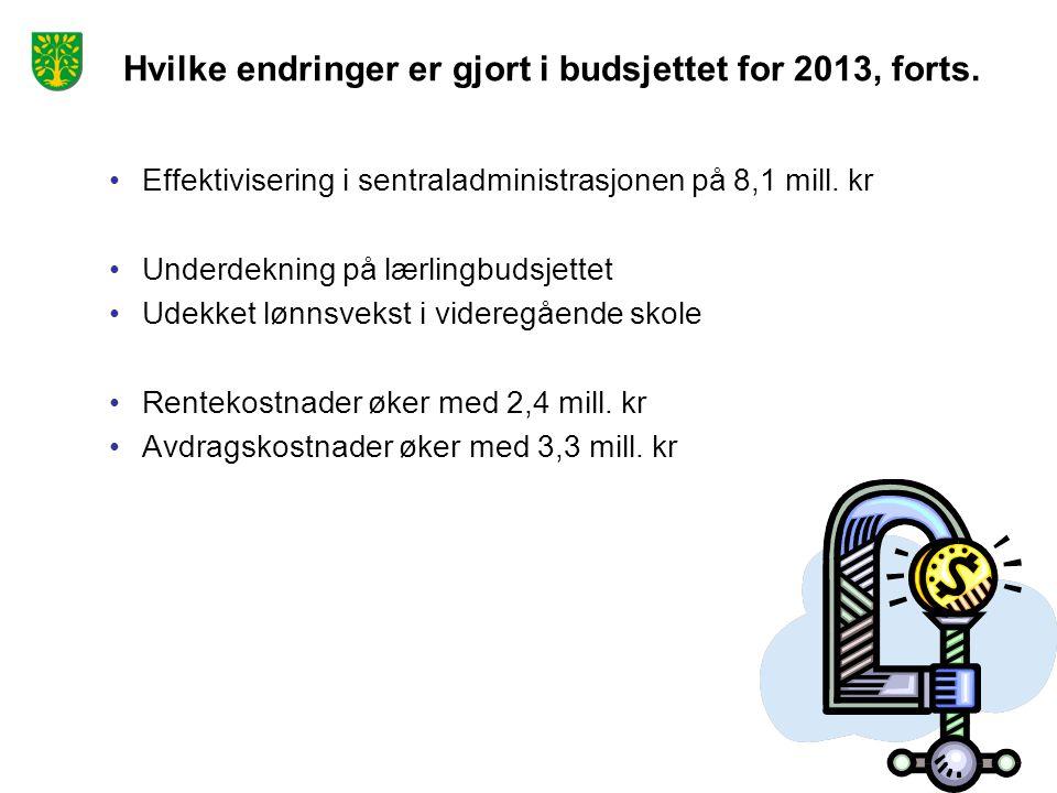 Hvilke endringer er gjort i budsjettet for 2013, forts. Effektivisering i sentraladministrasjonen på 8,1 mill. kr Underdekning på lærlingbudsjettet Ud