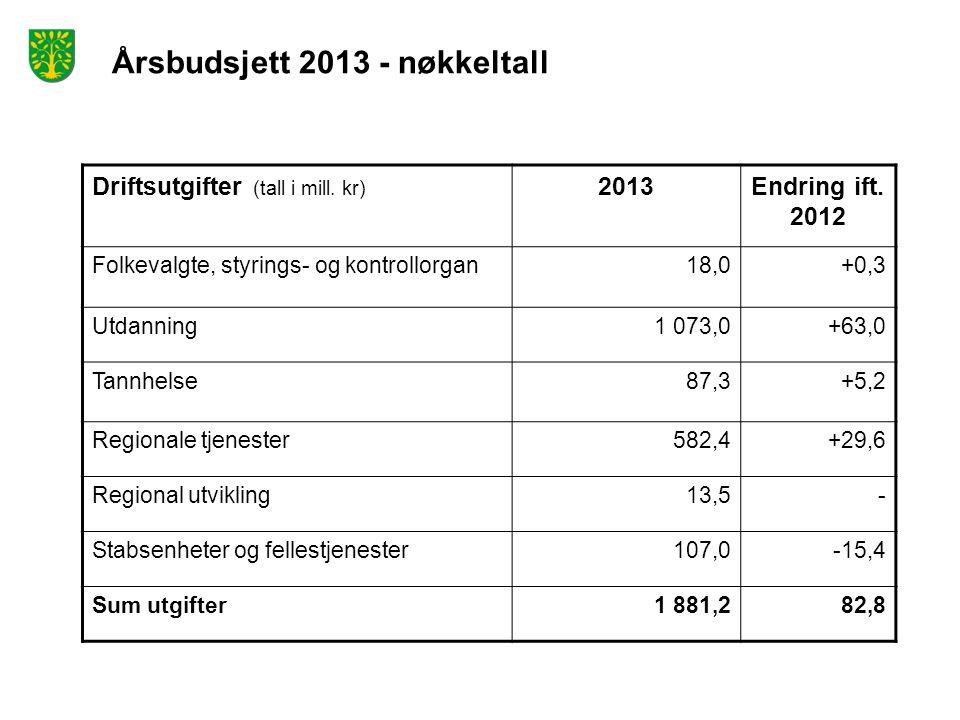 Årsbudsjett 2013 - nøkkeltall Driftsutgifter (tall i mill. kr) 2013Endring ift. 2012 Folkevalgte, styrings- og kontrollorgan18,0+0,3 Utdanning1 073,0+