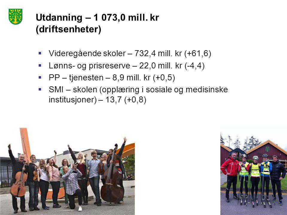 Utdanning – 1 073,0 mill. kr (driftsenheter)  Videregående skoler – 732,4 mill. kr (+61,6)  Lønns- og prisreserve – 22,0 mill. kr (-4,4)  PP – tjen