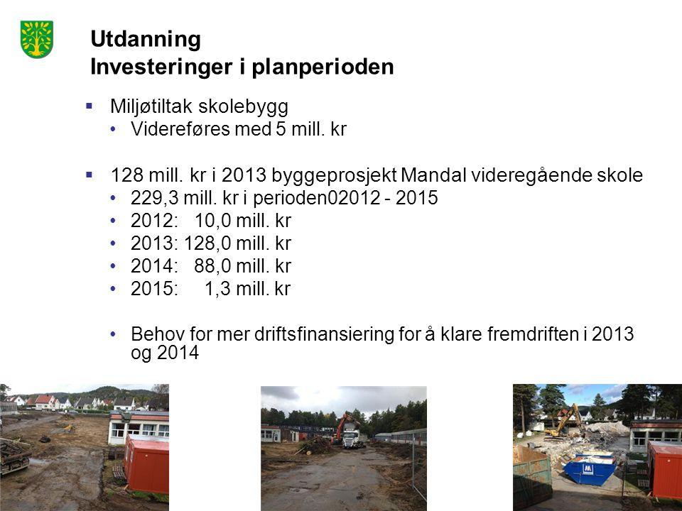 Utdanning Investeringer i planperioden  Miljøtiltak skolebygg Videreføres med 5 mill. kr  128 mill. kr i 2013 byggeprosjekt Mandal videregående skol