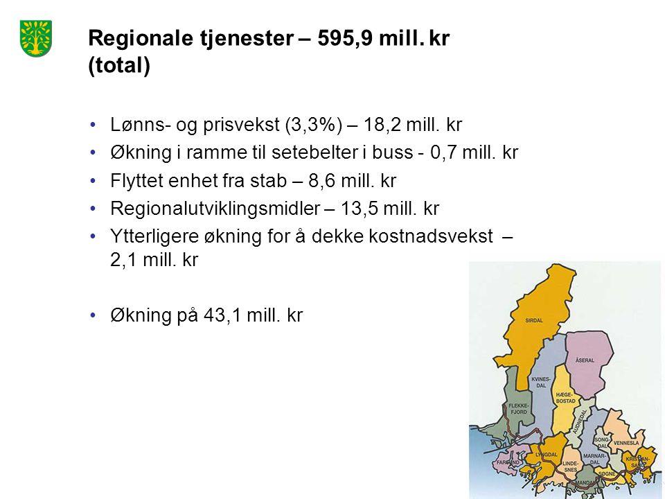 Regionale tjenester – 595,9 mill. kr (total) Lønns- og prisvekst (3,3%) – 18,2 mill. kr Økning i ramme til setebelter i buss - 0,7 mill. kr Flyttet en