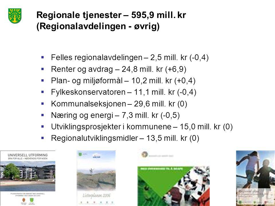 Regionale tjenester – 595,9 mill. kr (Regionalavdelingen - øvrig)  Felles regionalavdelingen – 2,5 mill. kr (-0,4)  Renter og avdrag – 24,8 mill. kr