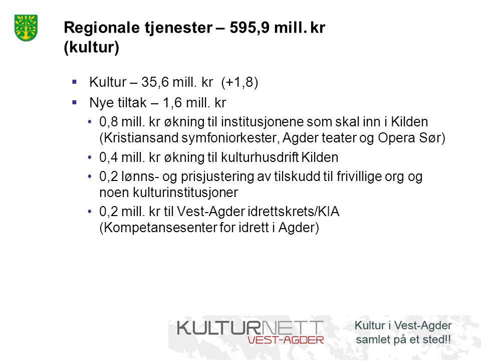 Regionale tjenester – 595,9 mill. kr (kultur)  Kultur – 35,6 mill. kr (+1,8)  Nye tiltak – 1,6 mill. kr 0,8 mill. kr økning til institusjonene som s