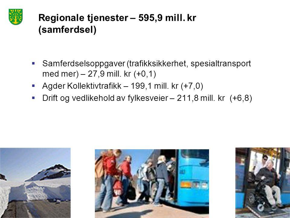  Samferdselsoppgaver (trafikksikkerhet, spesialtransport med mer) – 27,9 mill. kr (+0,1)  Agder Kollektivtrafikk – 199,1 mill. kr (+7,0)  Drift og