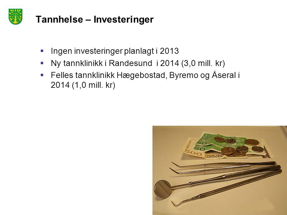 Tannhelse – Investeringer  Ingen investeringer planlagt i 2013  Ny tannklinikk i Randesund i 2014 (3,0 mill. kr)  Felles tannklinikk Hægebostad, By