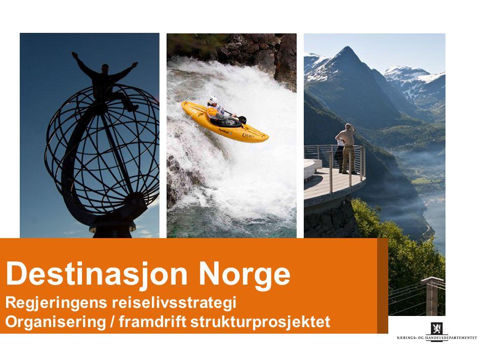 Destinasjon Norge Mål: 1.Økt verdiskaping og produktivitet 2.