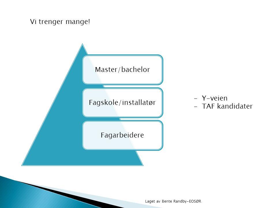 Master/bachelorFagskole/installatørFagarbeidere Vi trenger mange! - Y-veien - TAF kandidater Laget av Bente Randby-EOSØR