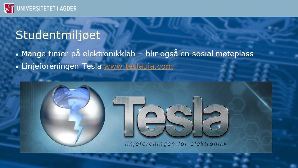 6 Studentmiljøet Mange timer på elektronikklab – blir også en sosial møteplass Linjeforeningen Tesla www.teslauia.comwww.teslauia.com