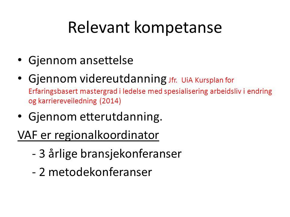 Relevant kompetanse Gjennom ansettelse Gjennom videreutdanning Jfr.