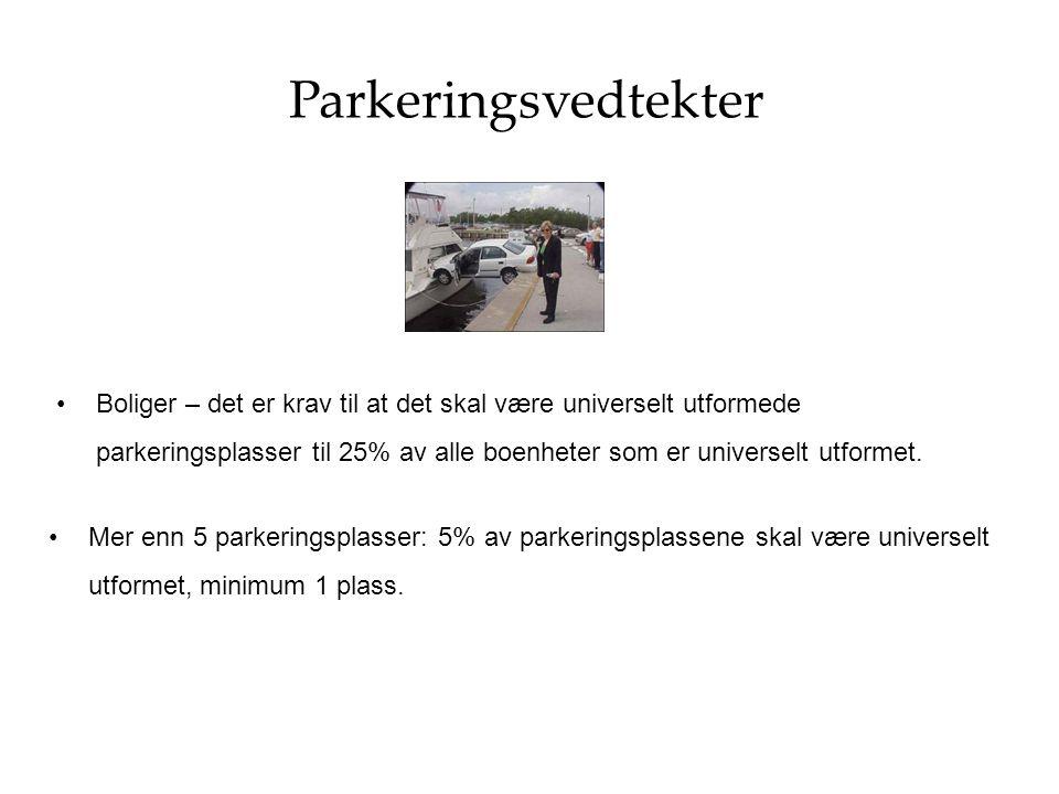 Parkeringsvedtekter Boliger – det er krav til at det skal være universelt utformede parkeringsplasser til 25% av alle boenheter som er universelt utfo