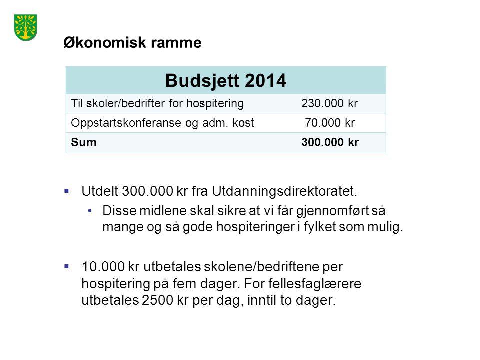 Økonomisk ramme  Utdelt 300.000 kr fra Utdanningsdirektoratet.