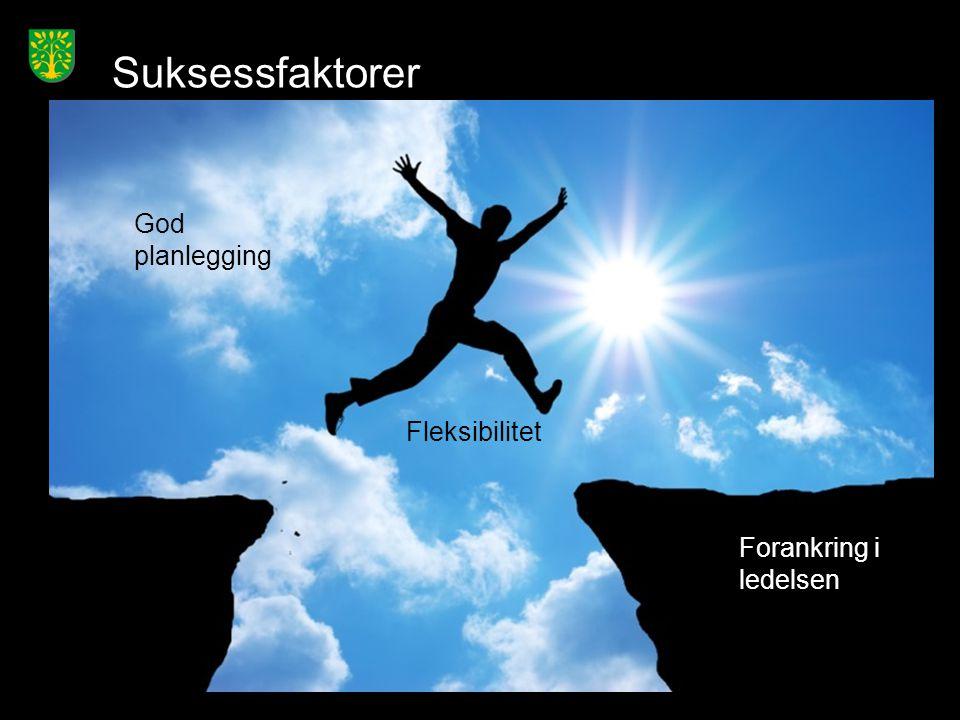 Suksessfaktorer God planlegging Fleksibilitet Forankring i ledelsen
