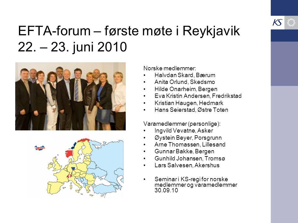 EFTA-forum – første møte i Reykjavik 22. – 23.