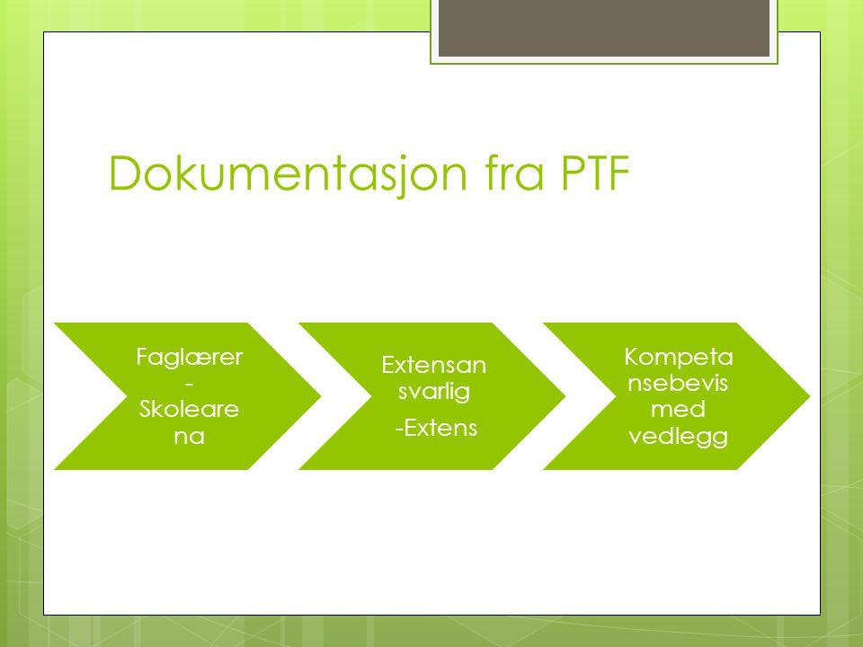 Faglærere Bedrifter Avdelingsleder Opplærings kontor Extensansvarlig og skolearena Eksamensansvarlig Dokumentasjon fra PTF Individuell for hver elev, på vedlegg til komeptansebevis.