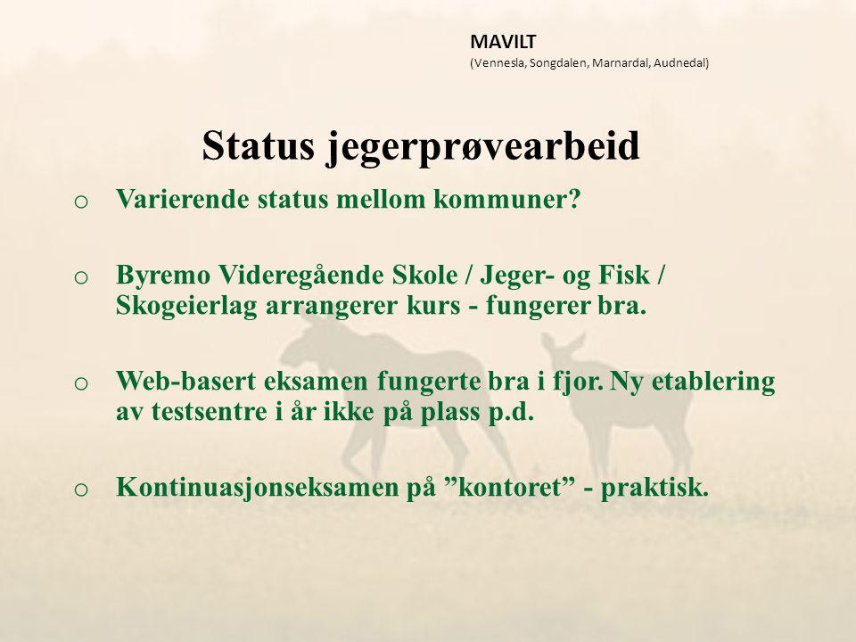 Status jegerprøvearbeid o Varierende status mellom kommuner.
