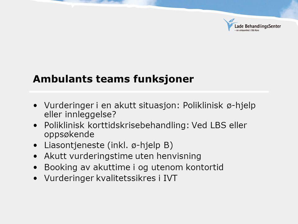 Ambulants teams funksjoner Vurderinger i en akutt situasjon: Poliklinisk ø-hjelp eller innleggelse.