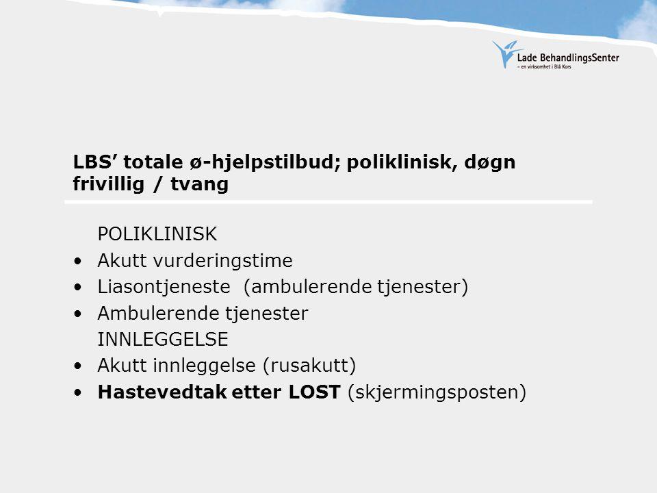 LBS' totale ø-hjelpstilbud; poliklinisk, døgn frivillig / tvang POLIKLINISK Akutt vurderingstime Liasontjeneste (ambulerende tjenester) Ambulerende tjenester INNLEGGELSE Akutt innleggelse (rusakutt) Hastevedtak etter LOST (skjermingsposten)