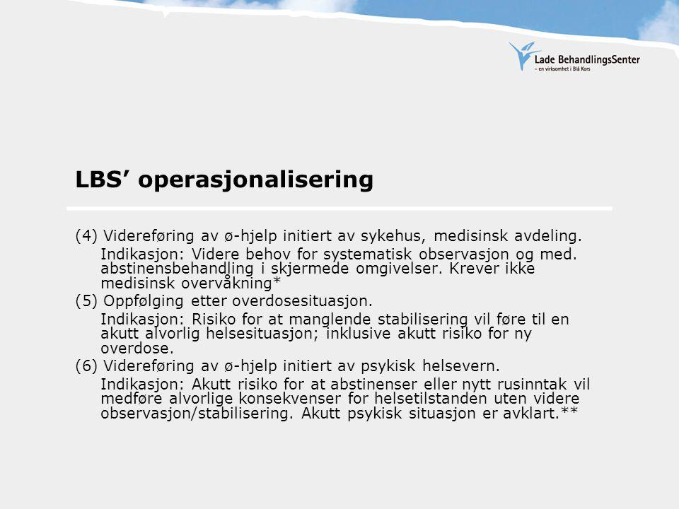 LBS' operasjonalisering (4) Videreføring av ø-hjelp initiert av sykehus, medisinsk avdeling.