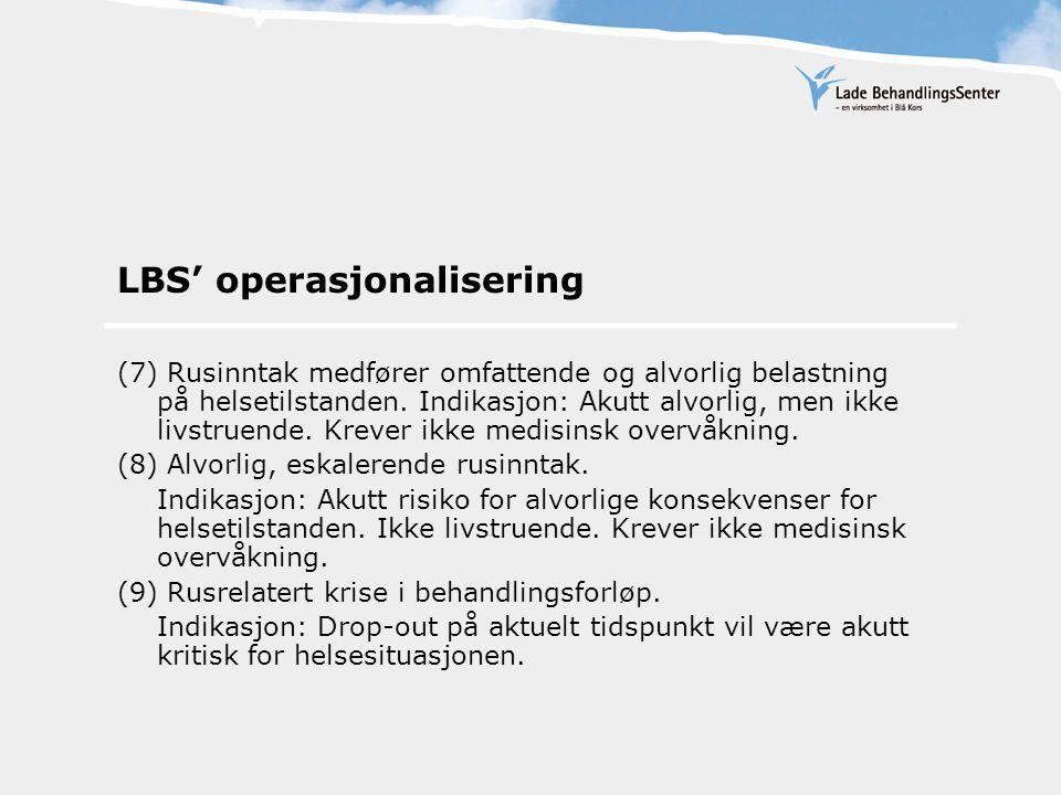 LBS' operasjonalisering (10) Rusrelatert krise for unge, ustabile (under 23år) i behandling.