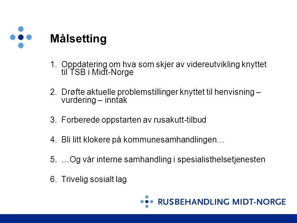 Målsetting 1.Oppdatering om hva som skjer av videreutvikling knyttet til TSB i Midt-Norge 2.Drøfte aktuelle problemstillinger knyttet til henvisning – vurdering – inntak 3.Forberede oppstarten av rusakutt-tilbud 4.Bli litt klokere på kommunesamhandlingen… 5.…Og vår interne samhandling i spesialisthelsetjenesten 6.Trivelig sosialt lag