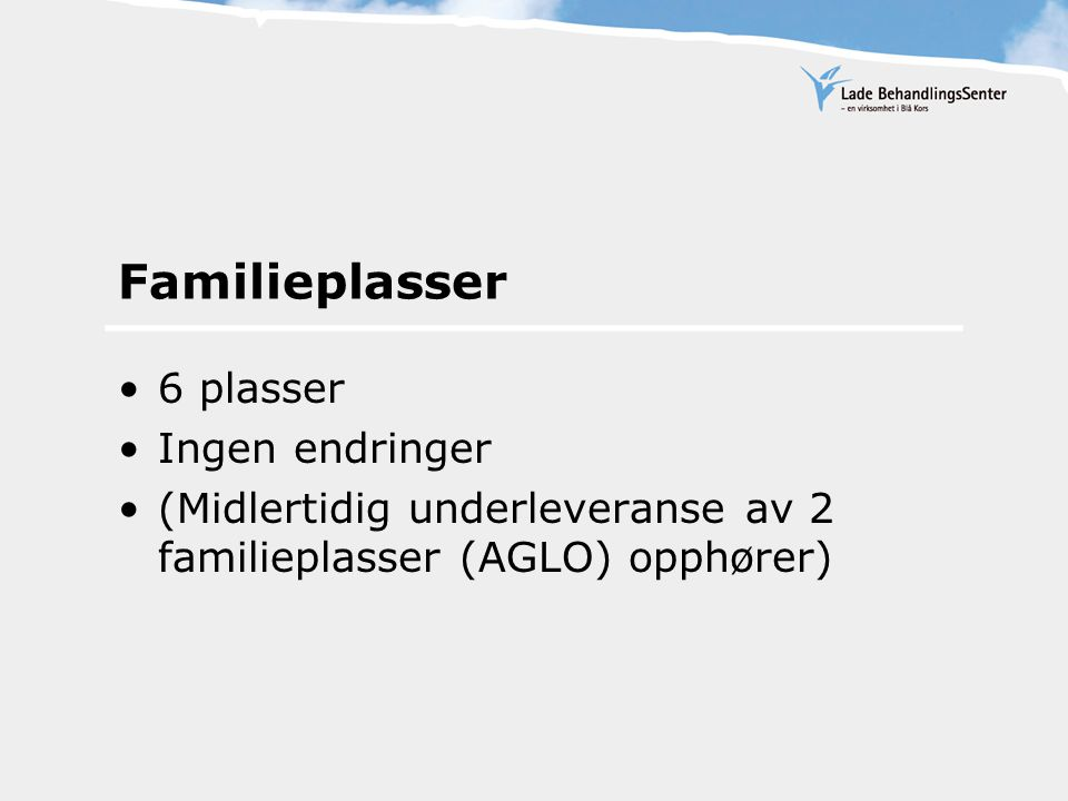 Familieplasser 6 plasser Ingen endringer (Midlertidig underleveranse av 2 familieplasser (AGLO) opphører)