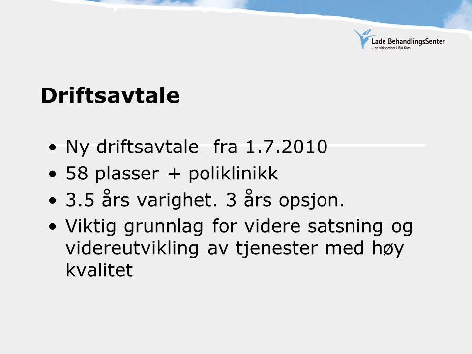 Driftsavtale Ny driftsavtale fra 1.7.2010 58 plasser + poliklinikk 3.5 års varighet. 3 års opsjon. Viktig grunnlag for videre satsning og videreutvikl