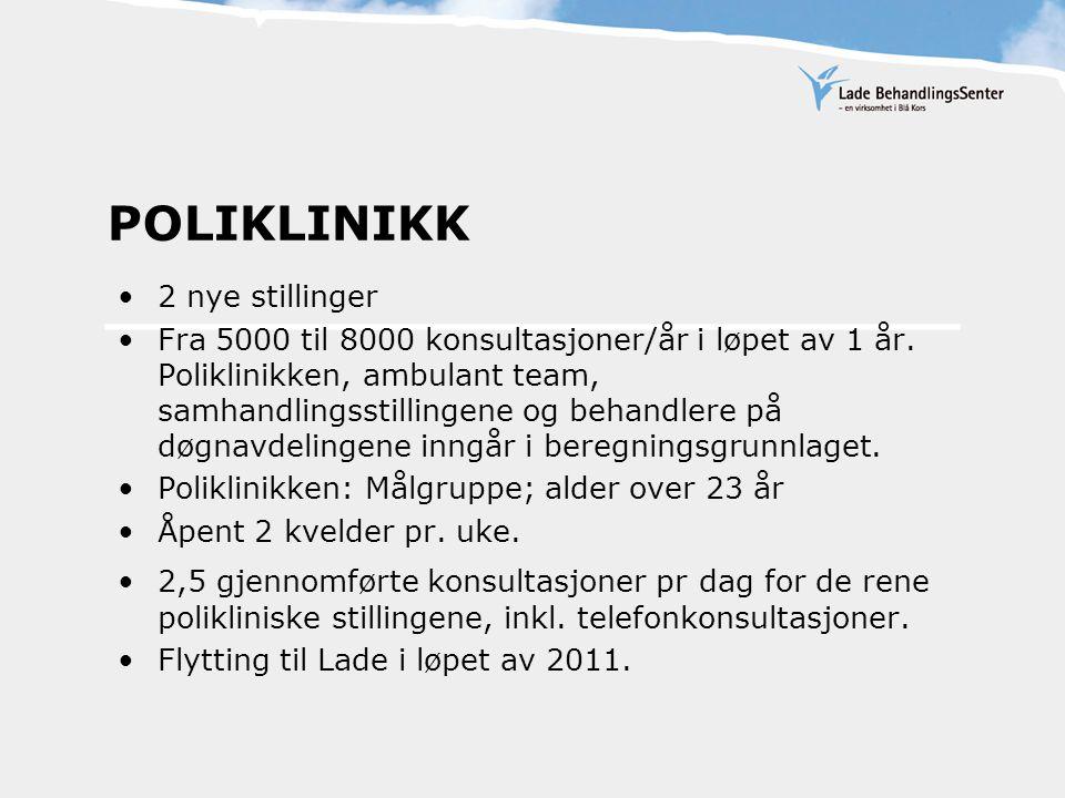 POLIKLINIKK 2 nye stillinger Fra 5000 til 8000 konsultasjoner/år i løpet av 1 år. Poliklinikken, ambulant team, samhandlingsstillingene og behandlere