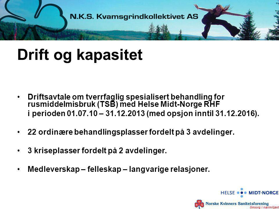 Drift og kapasitet Driftsavtale om tverrfaglig spesialisert behandling for rusmiddelmisbruk (TSB) med Helse Midt-Norge RHF i perioden 01.07.10 – 31.12