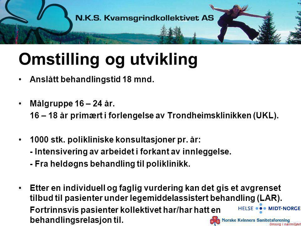 Omstilling og utvikling Anslått behandlingstid 18 mnd. Målgruppe 16 – 24 år. 16 – 18 år primært i forlengelse av Trondheimsklinikken (UKL). 1000 stk.