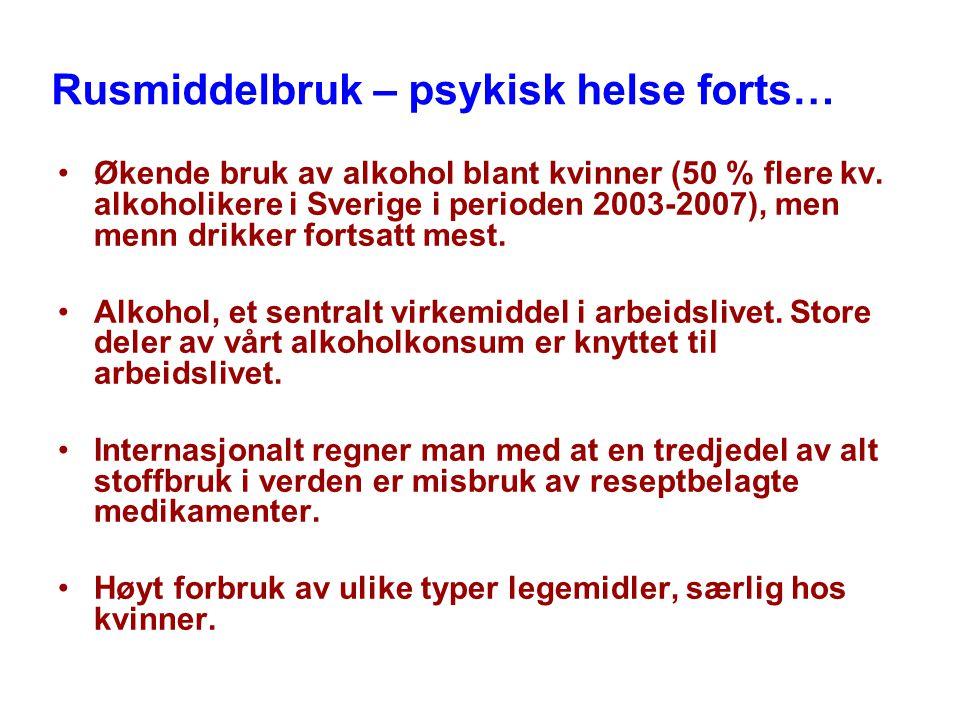Rusmiddelbruk – psykisk helse forts… Økende bruk av alkohol blant kvinner (50 % flere kv.