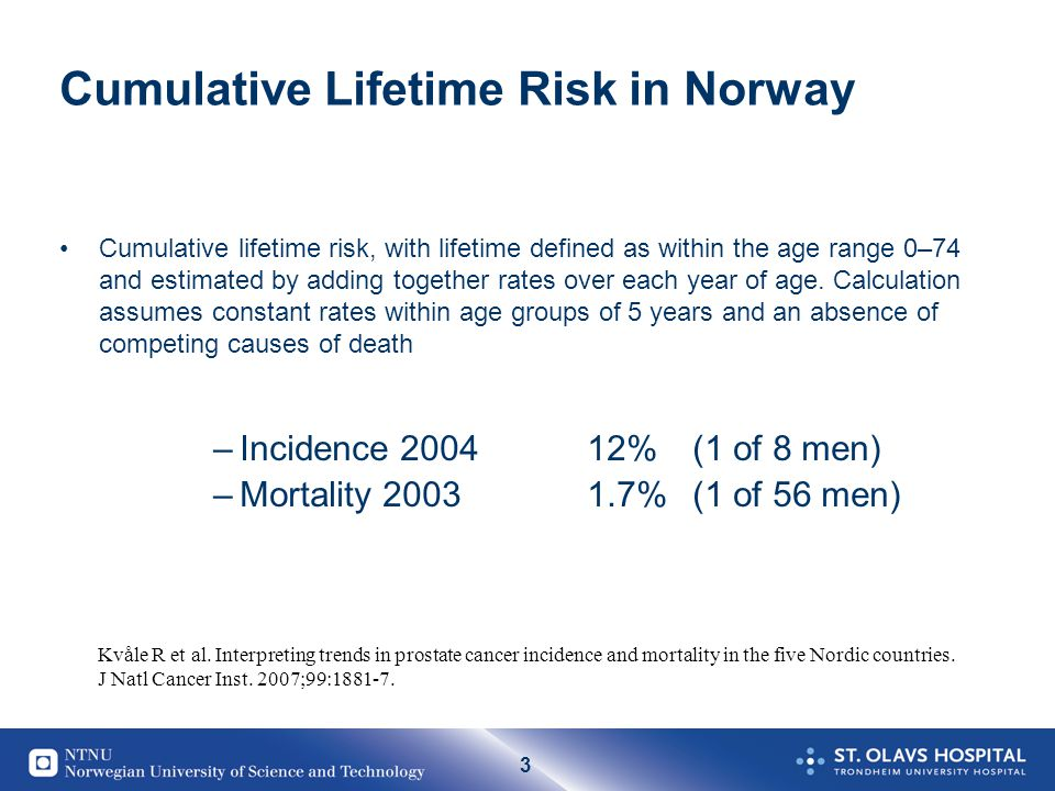 3 Cumulative Lifetime Risk in Norway Cumulative lifetime risk, with lifetime defined as within the age range 0–74 and estimated by adding together rat