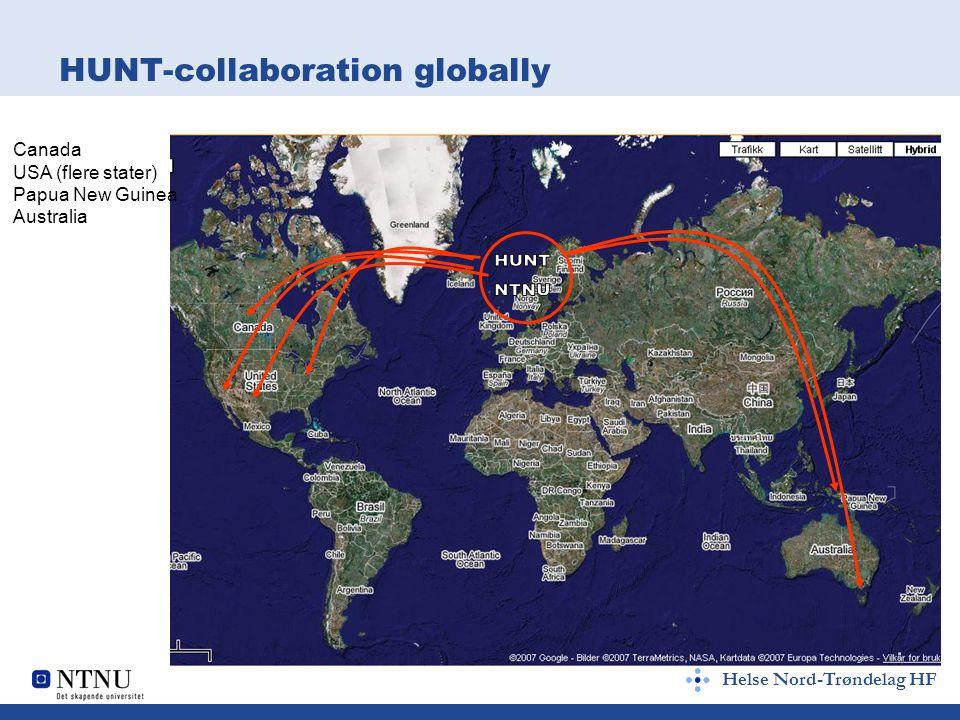 Helse Nord-Trøndelag HF HUNT-collaboration globally Canada USA (flere stater) Papua New Guinea Australia