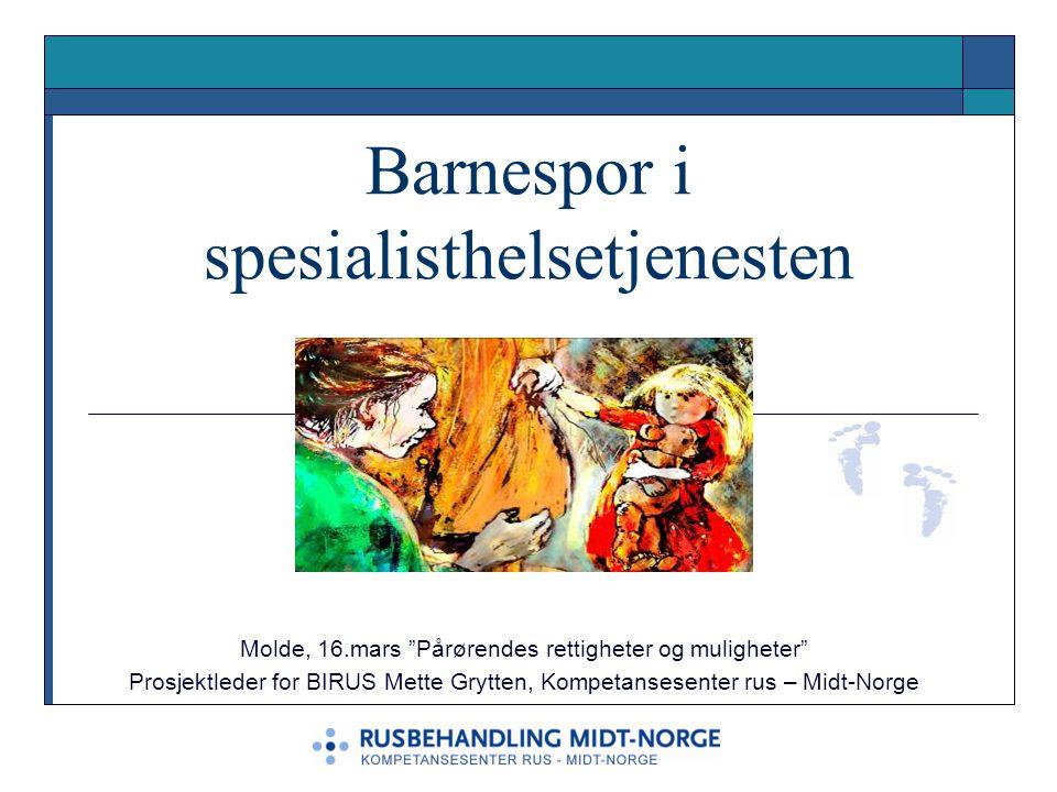 """Barnespor i spesialisthelsetjenesten Molde, 16.mars """"Pårørendes rettigheter og muligheter"""" Prosjektleder for BIRUS Mette Grytten, Kompetansesenter rus"""