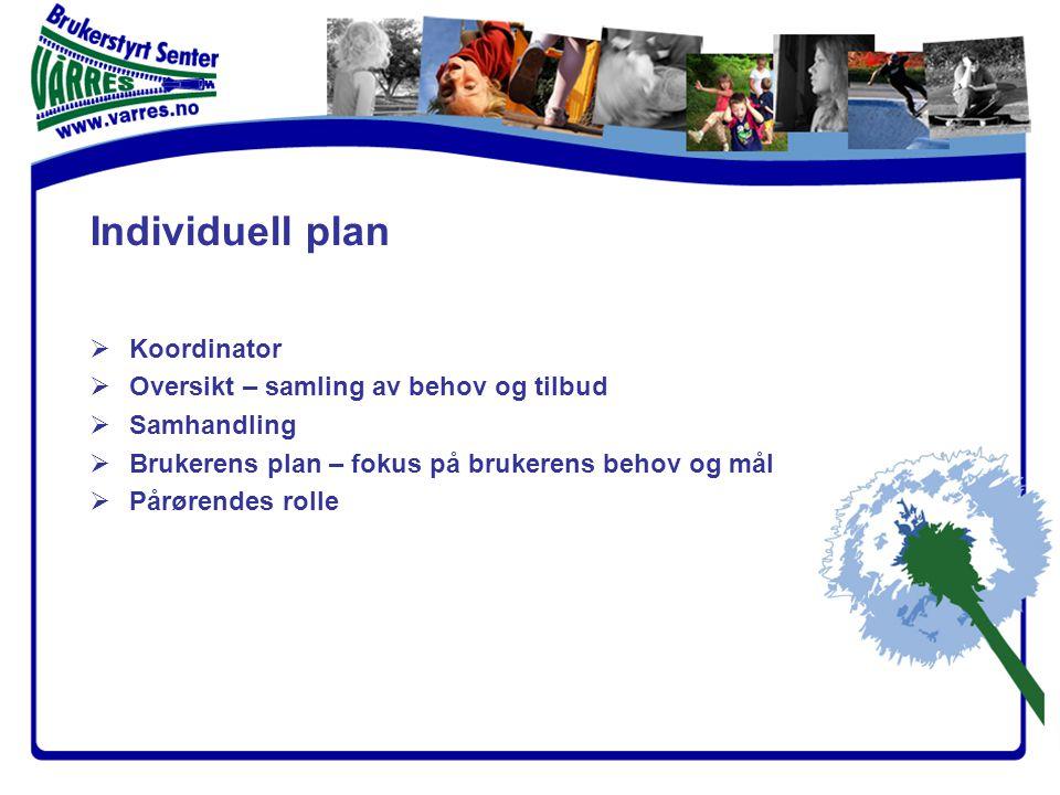 Individuell plan  Koordinator  Oversikt – samling av behov og tilbud  Samhandling  Brukerens plan – fokus på brukerens behov og mål  Pårørendes rolle