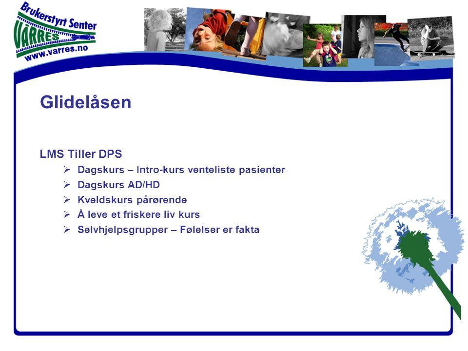 LMS Tiller DPS  Dagskurs – Intro-kurs venteliste pasienter  Dagskurs AD/HD  Kveldskurs pårørende  Å leve et friskere liv kurs  Selvhjelpsgrupper – Følelser er fakta