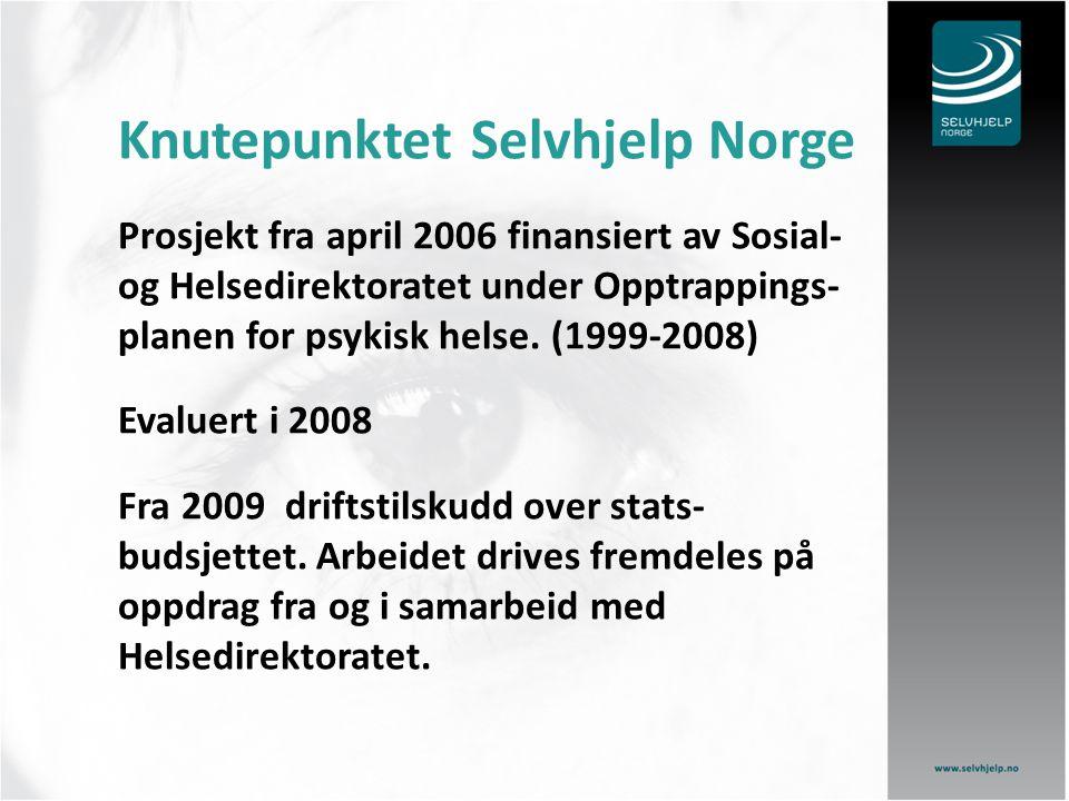 Knutepunktet Selvhjelp Norge Prosjekt fra april 2006 finansiert av Sosial- og Helsedirektoratet under Opptrappings- planen for psykisk helse. (1999-20