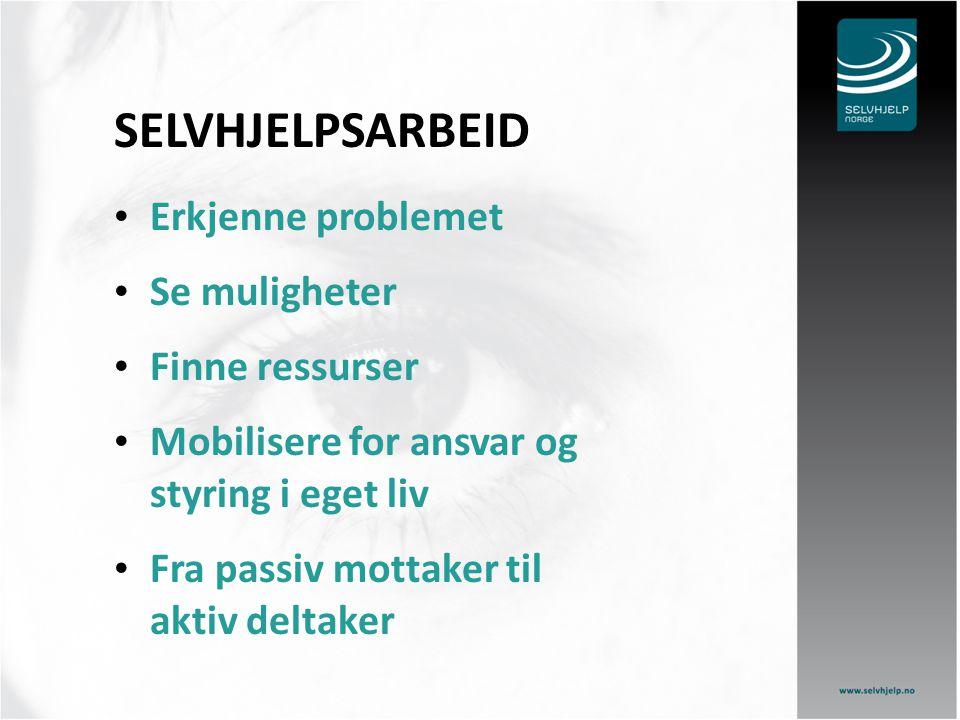 SELVHJELPSARBEID Erkjenne problemet Se muligheter Finne ressurser Mobilisere for ansvar og styring i eget liv Fra passiv mottaker til aktiv deltaker