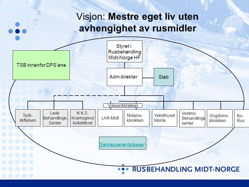 Visjon: Mestre eget liv uten avhengighet av rusmidler Styret i Rusbehandling Midt-Norge HF LAR-Midt Nidaros- klinikken Veksthuset Molde Vestmo Behandl