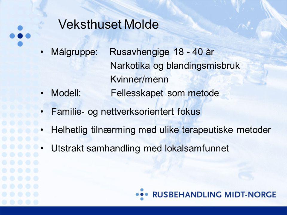 Målgruppe: Rusavhengige 18 - 40 år Narkotika og blandingsmisbruk Kvinner/menn Modell: Fellesskapet som metode Familie- og nettverksorientert fokus Hel